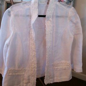 Chicos sheer ruffled jacket size 1